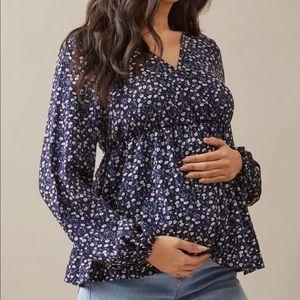 MATERNITY floral print peplum long sleeve blouse